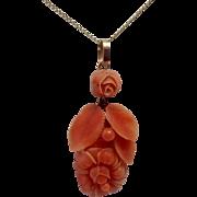 Antique 14K Gold & Carved Floral Natural Coral Necklace Pendant