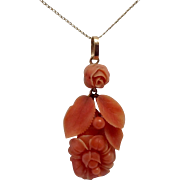 Antique 14K Gold & Carved Floral Natural Coral Necklace Pendant
