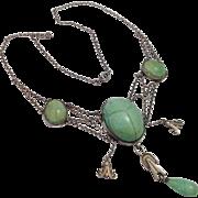 Arts & Crafts Sterling Aventurine Scarab Festoon Necklace