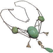 Arts & Crafts Sterling Aventurine Scarab Festoon Necklace