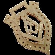 c1880 Masonic Carved Bone Emblem