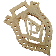 c1880 Masonic Carved Bone Emblem