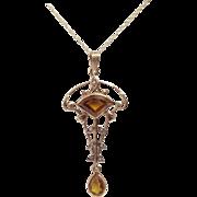 Edwardian Lavaliere Citrine Seed Pearl & 10K Gold