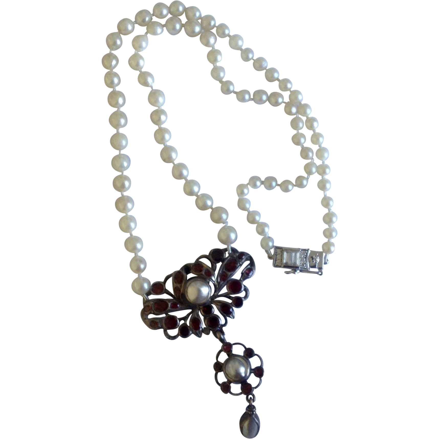Upcycled Georgian Revival Garnet Cluster Blister Pearl & Fresh Water Pearl Necklace