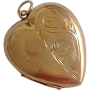 Vintage 9K Heart Locket ~ Engraved Flowers