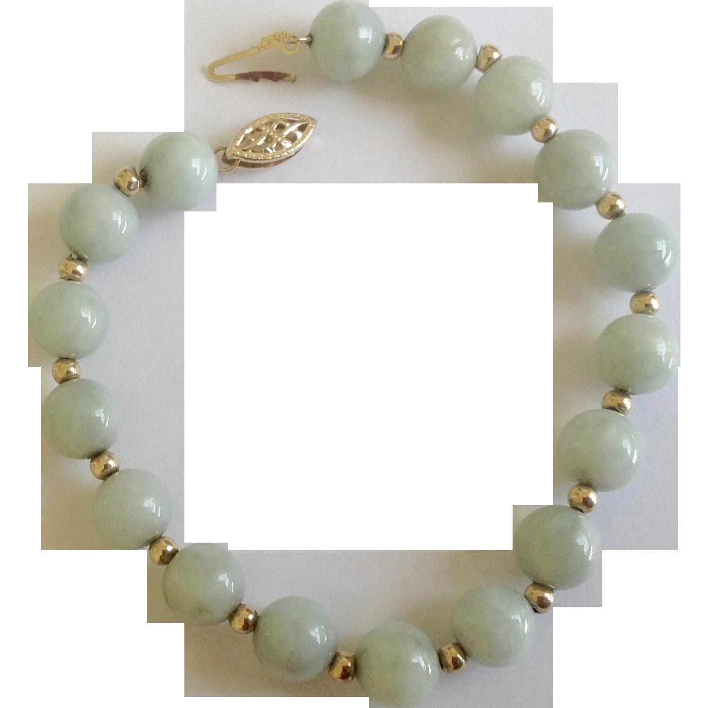 Chinese Jade Bead & 14K Gold Bracelet