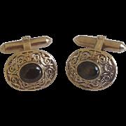 Vintage 10K Gold Filigree & Black Star Sapphire Cufflinks