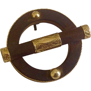 Antique 14K Gold & Gutta Percha Mourning Circle Brooch c1890