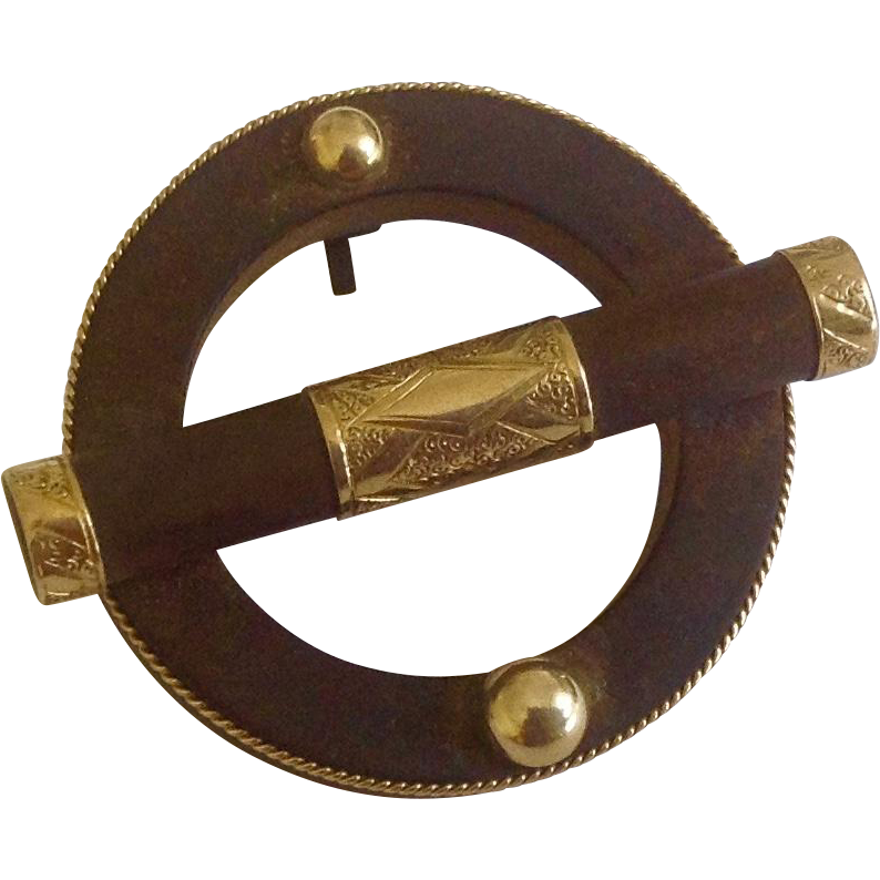 Antique 14K Gold & Gutta Percha Mourning Circle Brooch c1890