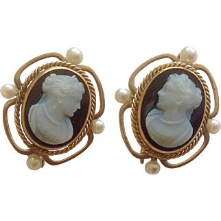 Antique Hard Stone Cameo Pearl & 14K Gold Earrings