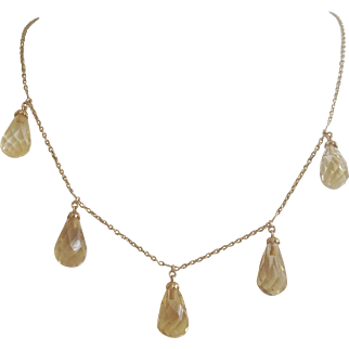 Antique Edwardian Festoon Citrine 14K Gold Necklace ~ 15CTW