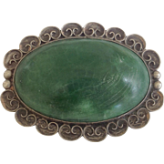 Vintage Taxco Brooch ~ Green Turquoise & Sterling