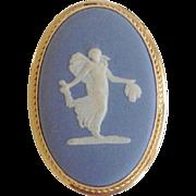 Vintage Wedgwood Jasperware Blue & White Neo Classical Pendant / Brooc