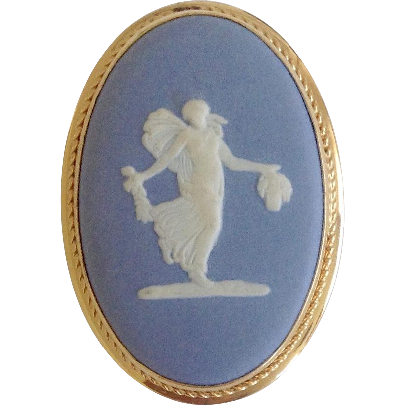 Vintage Wedgwood Jasperware Blue & White Neo Classical Pendant / Brooch