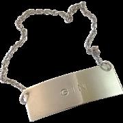 Modernist Sterling Silver Liquor Tag Decanter Label ~ Gin