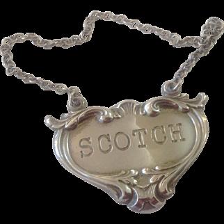 Sterling Silver Liquor Tag Decanter Label ~ SCOTCH