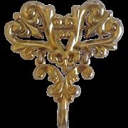 Unusual Victorian Watch Pin ~ Stylized Fleur de Lis