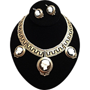 Magnificent Italian Victorian Hard Stone Cameo Demi Parure Necklace Earrings ~ 12K Gold Black Enamel Greek Key