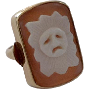 Unusual Antique Shell Cameo Ring ~ Sad Sun Face ~ 14K Gold
