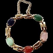 Vintage Scarab Bracelet ~ Genuine Semi Precious Gemstones ~ GF Mounting