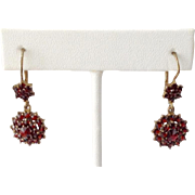 Vintage Bohemian Garnet Earrings ~  900 Vermeil ~Lever Back