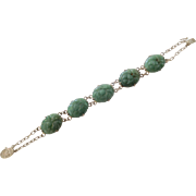 Chinese Carved Jade & Sterling Silver Bracelet ~ Ornate Clasp