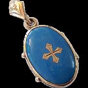Victorian Blue Enamel & Cross Locket Pendant