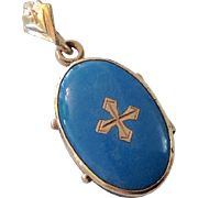 Victorian Blue Enamel & Cross Locket Pendant