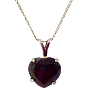 5CT Heart Shaped Garnet Gemstone & 14K White Gold Pendant