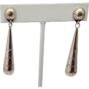 "2+"" Vintage Sterling Silver Long Cone Shaped Drop Earrings"