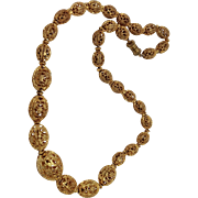 Elegant Ormolu Filigree Graduated Bead Necklace