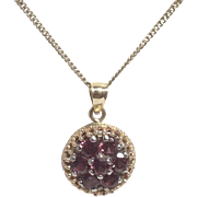 Vintage 14K 2.50TW Rubellite Purple-Pink Tourmaline Pendant Necklace