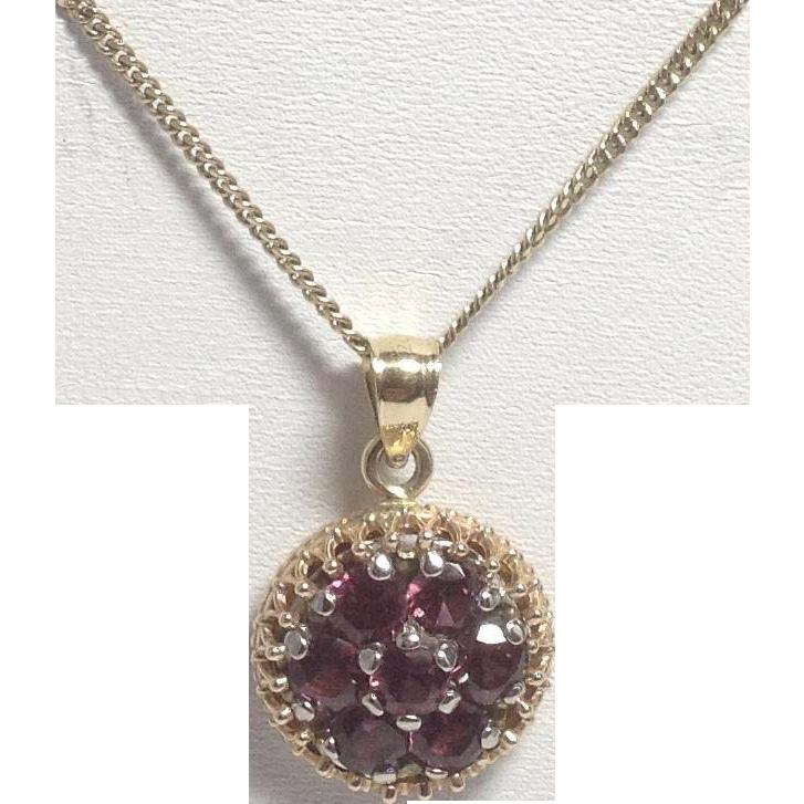 Vintage 14K 2.50TW Rubellite Purple-Pink Tourmaline Pendant Necklace