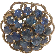 Genuine Sapphire 10K Rose Gold Princess Cluster Ring