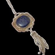 vintage Bohemian Style Lapis & Silver Necklace