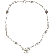 Vintage Sterling Silver Choker Necklace ~ Decorative Links