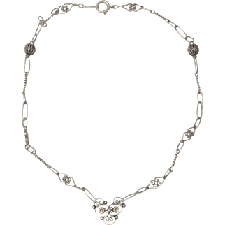Vintage Sterling Silver Choker Necklace ~ Decorative Links