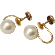 8mm Cultured Pearl Earrings ~ 10K Screw Back