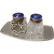 Vintage David Andersen Shaker Set & Tray Sterling Silver ~ Cobalt Blue Enamel Covers