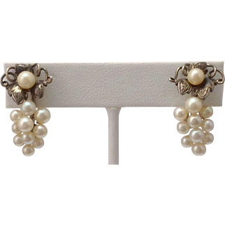 Elegant Vintage Cultured Pearl Earrings by Caribe ~ Sterling & 14K Clips ~ Grapevine Motif