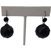 Victorian Whitby Jet Antique Earrings ~ 20mm Faceted Orbs