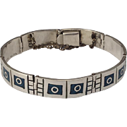 Vintage Sterling & Inlaid Turquoise Mexico Bracelet