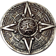 Vintage Aztec Motif Mexico Sterling Pendant or Brooch