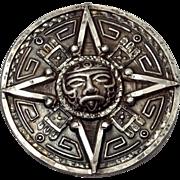 Vintage Aztec Motif Mexico Sterling Pendant or Brooch
