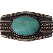 c1950 Southwest Native American Sterling & Turquoise Brooch