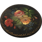 Vintage Russian Lacquer Floral Miniature Painting Brooch / Pin ~ Artist Signed