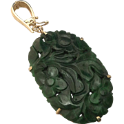 Vintage 14K Chinese Carved Spinach Jade Pendant