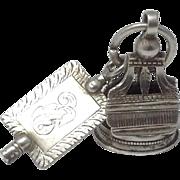 RARE Georgian Silver Stylized Lyre Motif Watch Fob & Large Engraved Watch Key