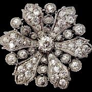 4.93 CTW Edwardian Platinum & Diamond Starburst Brooch c1910