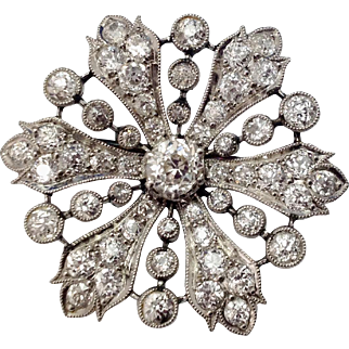 4.93 CTW Edwardian Platinum & Diamond Starburst Brooch c1910